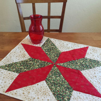 Christmas Star Table Topper - Handmade Star Table Topper in Red, Green, and Gold