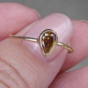 0.45 Carat Golden Brown Pear Cut Diamond Bezel Set Ring in 14K Yellow Gold by Luxinelle® Jewelry