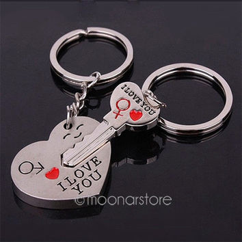 Good Couple Keychain Valentine's Day Lover Gift Keyring Key fob Heart Key = 1929694980