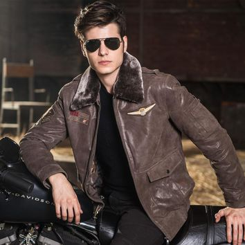 Men's real leather jacket