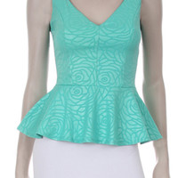 QUEEN FLOWER EMBEDDED TANK TOP - MINT