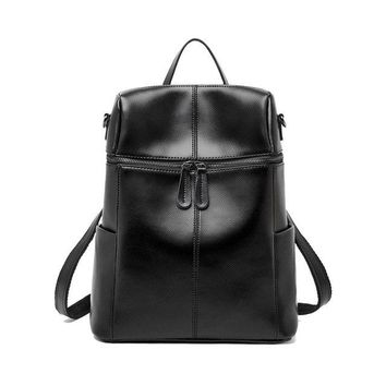 University College Backpack QIAOBAO The First Layer Leather Shoulder Bag Female Leather bag Simple European And American Fashion  Trend AT_63_4