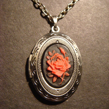 Red and Black Rose LOCKET Necklace (381)
