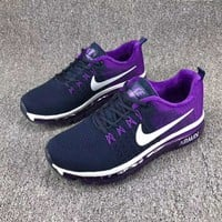 NIKE Air Cushion Flying Line Woven Women Men Casual Shoes Running Sports Shoes Purple I-CSXY