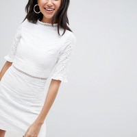 Parisian Tall Broderie Dress With Frill And Laddering Details at asos.com