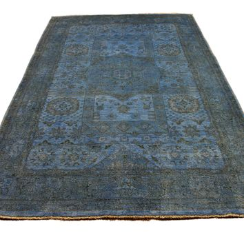 6x9 Overdyed Handspun Wool Peshawar Rug Teal Denim 2751