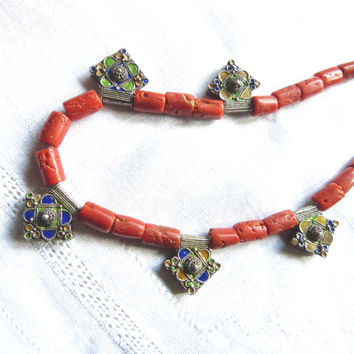 North African Berber Coral Necklace with Moroccan Tiznit Enamel Silver Cross