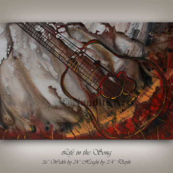 Abstract Art GUITAR Painting MUSIC ART Original Abstract Paintings Online Guitar Fine Art Gallery Artwork on Canvas by Nandita