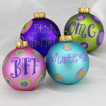 4 Glass Ball Ornaments - Matte Finish