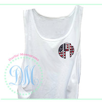 American Flag Applique Monogram Tank Top