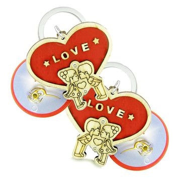 Cute Heart Magic Protection Energy Love Couples Best Friends Set Wooden Keychain Amulet Blessings