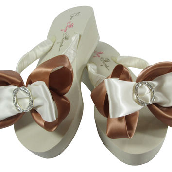 Pecan Wedding Flip Flops with  Infinity Circle Satin Bling in Ivory or White