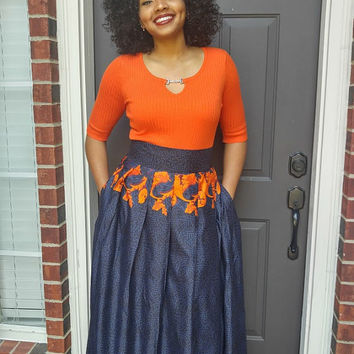 Ankara skirt, Ankara maxi skirt, African print maxi skirt,  African skirt, Blue and orange maxi skirt, African wax, Fall skirt
