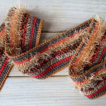 Hand crochet boho scarf / autumn colors / gold / rusty brick reds / gypsy chic / multi color / long fringe / fire colors / fall inspired
