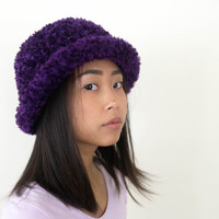 vintage fuzzy purple hat, weird vtg 90s blossom cap, 1990s accessories, health goth, american apparel, tumblr, kawaii, vaporwave aesthetic