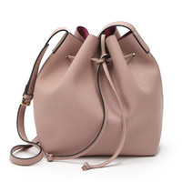 Peach Pink Drawstring Detail PU Bucket Bag