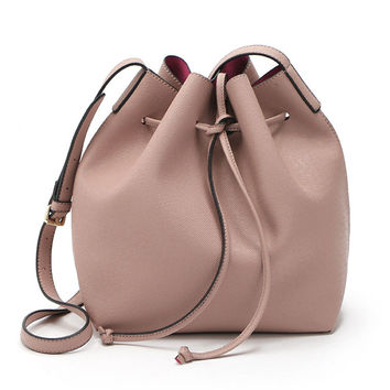 Peach Pink Drawstring Faux Bucket Bag