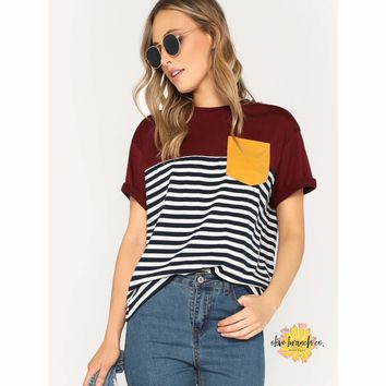 Pocket Patch Striped Tee