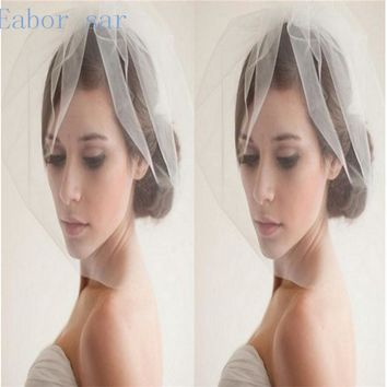 Cheapest!Layer mesh veil bride wedding accessories concealed Art 2017