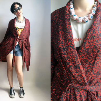 70s Clothes/ 1970's Paisley Robe Vintage Saks Fifth Avenue Wool Cotton Blend Robe Paisley Print Red House Coat Men's Robe Women's Robe