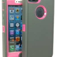 Iphone 5 Body Armor Defender Case Comparable to Otterbox Defender Series Charcoal Gray on Peony Pink + Bonus Cube Charger