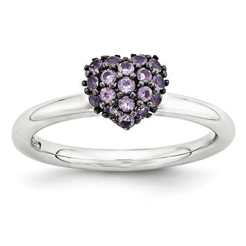 Sterling Silver Amethyst Cluster Stackable Expressions 8mm Heart Ring