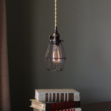 Brass Cage Pendant Light Fabric Covered Twisted / Round Wire w/ Edison Bulb - Steampunk Shabby Chic Rustic Minimalist Lamp
