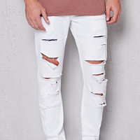 PacSun Skinny Ripped Optic White Stretch Jeans at PacSun.com