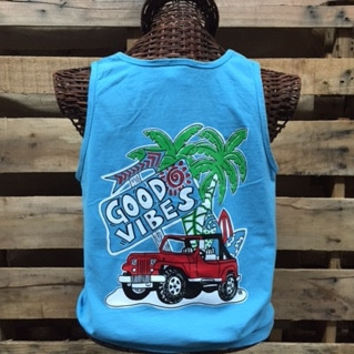 Southern Chics Comfort Colors Good Vibes Jeep Beach Girlie Bright T Shirt Tank Top
