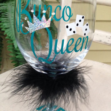 Bunco wine glass, Bunco Queen, wine glasses, Bunco party gift, gift for girlfriend, let's roll!, secret santa gift, bunco party, personalize