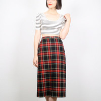 Vintage Red Black Skirt Pencil Skirt High Waisted Skirt Tartan Plaid Skirt Midi Skirt Knee Length Prep Office Secretary Wiggle Skirt S Small