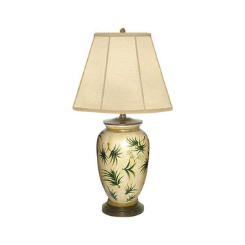 """Beautiful Porcelain Floating Waves Floral Table Lamp 27"""" with Shade"""