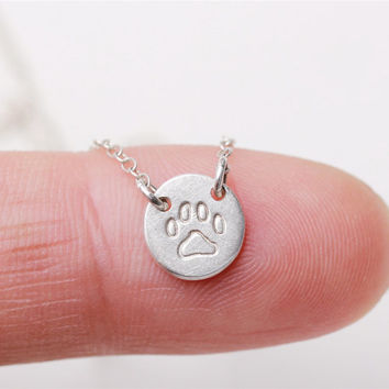 Hand stamped pet paw print  - sterling silver circle necklace - everyday simple