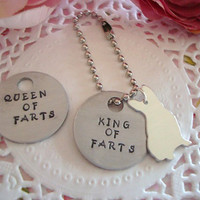 English or French Bulldog King Or Queen Of Farts Hand Stamped Keychain Made to order