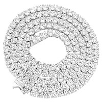 """Sterling Silver 4mm 14k White Gold Finish Tennis Chain 18-30"""""""