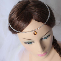 bridal circlet clear crystal swarovski bicones and gold forehead pendent. Custom colors