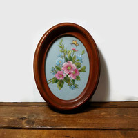 Small Vintage Floral Embroidery Wall Hanging, Deep Wooden Oval Frame