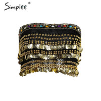 Simplee Tassel beading velvet  top tees Summer 2017 lace up punk crop top women Sexy gold sequin tank top coin chain tube top
