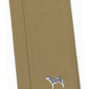 Siberian Husky Tan Embroidered Kitchen Towel Set of 2 BB3480TNTWE