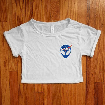 NASA shirt nasa alien Women crop top made in usa