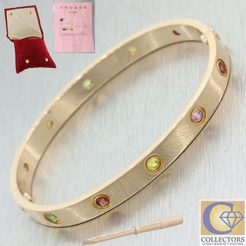 Cartier 18k Solid Rose Gold Rainbow Style Gemstone Love Bangle Bracelet Size 17
