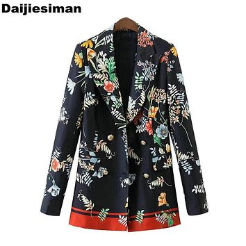 Vintage Floral Print Blazer Women Pockets Double Breasted Notched Collar Office Ladies Coat Casual Loose Outerwear Streetwear