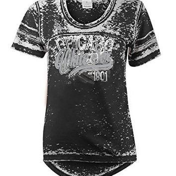 MLB Chicago White Sox Burnout Wash Wide Crew Neck Jersey, Black, Large