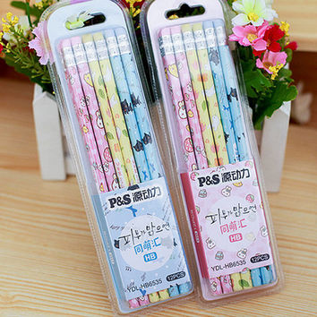 12PCs Set Cute Wooden Pencils With Eraser for School Students School Supplies Writing Sketching Drawing Set Quality HB Lead Wood Pencils