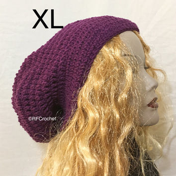 XL | Purple Slouchy Beanie | Dreadlock Hat | Mens Beanie | Womens Beanie | Locs | Round Roomy Design | Dreads