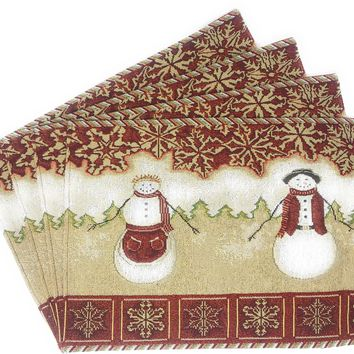 Tache Mr. & Mrs. Snowman Couple Woven Tapestry Placemats (10323PM)