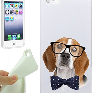 Beagle Glass Bows Hipster Love Animal Cool Funny Girls Teens IPhone 5 / iPhone 5S Case Cover By NickyPrints. UNIQUE Designer Gloss Candy TPU Flexible Slim Case for iPhone 5 5S