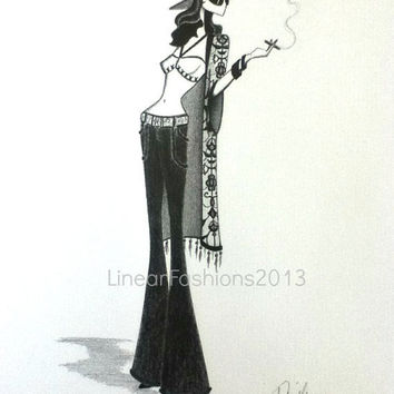 Original Pencil Drawing - fashion illustration - boho fashion - 70s shawl bell bottoms - gypsy art - fashion drawing - boho bridesmaid gift