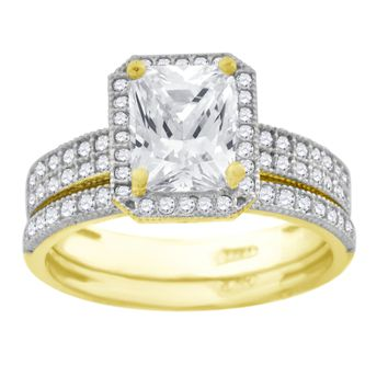 Emerald Cut CZ Bridal Engagement & Wedding Band Ring Set in 10k Yellow Gold