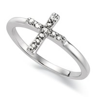 Diamond Ring, Sterling Silver Diamond Cross Ring (1/10 ct. t.w.)